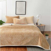 Coral fleece Solid Polyester Cotton Blend Blankets , light brown