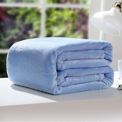 "Coral fleece Solid Polyester/Cotton Blend Blankets , w70"" x l79"""