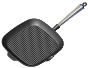 Carl Victor 28 cm Pre-Seasoned Cast Iron Square Griddle Pan with Stainless Steel Handle, Black