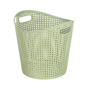 Both Sides of the Hand-Held Dirty Clothes Basket Large Rattan Plastic Storage Basket, Bedroom, Bathroom, Kitchen Pink,Green