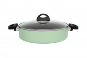 BergHOFF Eclipse Non-Stick Induction-Safe 2-Handle Deep Skillet with Glass Lid, 26cm 3.2L, Aluminium, Soft Green, 31 x 26 x 6.5 cm