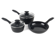 Russell Hobbs 20 cm Saucepan, BW05743 Stone 3 Pans (16 and 24 cm Frying Pan, Ceramic Non-Stick Coating, Aluminium, black, 36.5 x 10.6 x 20 cm 3 Units