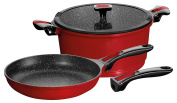 Stoneline 17511 Imagination Interchangeable and Removable Handle Suitable for Induction Cookers 5-Piece Cookware Set, Red Aluminium 29.4 x 29.4 x 22.4 cm 4 Units