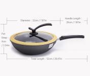 Wok Non-Stick Smoke-Free Fine Iron Pan Transparent Glass Cover Universal Cooking 32cm SuJi