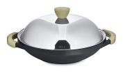 BergHOFF Non-Stick Induction-Safe 2-Handle Wok with Stainless Steel Lid, 32cm, Cast Aluminium, Black, 36 x 32 x 10 cm