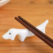 GZD Creative Japanese Bone Porcelain Pure White Chopsticks Rack Puppy Chopsticks Pillow Ceramic Chopsticks Mat Penholder Small Ornaments 8.7 * 2.3cm