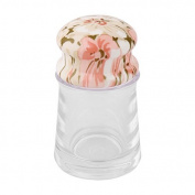 DealMux Plastic Can Home Kitchen Flower Pattern Top Table Decoration Toothpick Holder Storage Case Clear