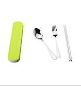 5Five Green stainless steel travel tableware set chopsticks spoon fork with three-piece suit