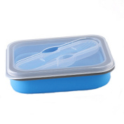 Foldable Silicone Sealed Fresh Lunch Boxes Lunch Boxes Lunch Boxes,Blue