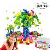 Zzurcca 500 Pieces Brain Flakes Set Snowflakes Connect Interlocking Plastic Disc - A Creative and Educational Building Block Toy