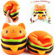 1pcs Squishy Jumbo Cat Burger Colossal Squishy Super Slow Rising Scented Cute Kawaii Collection Gift Decor Stress Relief Toy for Children Kids Adult