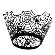 Demarkt 50pcs Cupcake Wrappers Spiderweb Laser Cake Paper Cups Halloween Decor