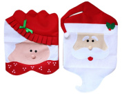 Chair Cover, Funpa 2Pcs Christmas Chair Decoration Santa Claus Chair Back Cover for Dining