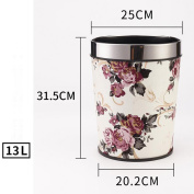 Wddwarmhome Peony Pattern Conical Leather Material Creative No Cover Trash Can Home Living Room Bedroom Bathroom Kitchen Small Plastic Trash Can Baskets Waste Bins