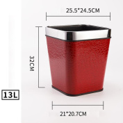 Wddwarmhome Leather Material Red Pattern Trash Can Living Room Bedroom Kitchen Hotel Home Creative No Cover Small Plastic Trash Can Trash Bin Waste Bins