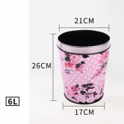 Wddwarmhome Pink Leaf Pattern Conical Leather Material Creative No Cover Trash Can Home Living Room Bedroom Bathroom Kitchen Small Plastic Trash Can Baskets Waste Bins