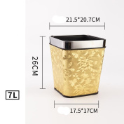 Wddwarmhome Leather Material Golden Leaf Pattern Trash Can Living Room Bedroom Kitchen Hotel Home Creative No Cover Small Plastic Trash Can Trash Bin Waste Bins