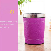 Wddwarmhome Purple Home Round No Cover Trash Can Hotel Bedroom Bathroom With Kitchen Living Room Simple Trash Can Leather Trash Can Waste Bins