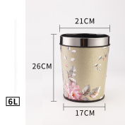 Wddwarmhome Blooming Pattern Conical Leather Material Creative No Cover Trash Can Home Living Room Bedroom Bathroom Kitchen Small Plastic Trash Can Baskets Waste Bins