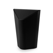Wddwarmhome Black Office With Cover Creative Bedroom Pressure Ring Square Trash Can Home Bathroom Living Room Shake The Lid 10L (26 * 24 * 35.6cm) Waste Bins