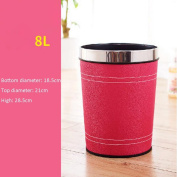 Wddwarmhome Pink Home Round No Cover Trash Can Hotel Bedroom Bathroom With Kitchen Living Room Simple Trash Can Leather Trash Can Waste Bins