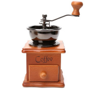 GuDoQi Mini Wooden Manual Coffee Grinder Vintage Style Coffee Grinder with Portable Hand Crank