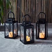 Set of 3 Matte Black Metal Battery Operated LED Flameless Candle Lanterns