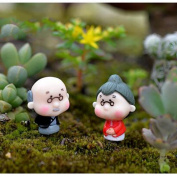 Mininature Garden Decor - 2 Pieces Cute Mini Figurines Miniature Old Granny Grandpa Resin Crafts Ornament Fairy Garden Home Decoration