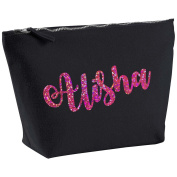 Alisha Personalised Name Cotton Canvas Black Make Up with a Holographic Pink Print Accessory Bag Wash Bag Size 14x20cm. The perfect personalised Gift for All occasion, Christmas, Birthdays,