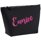 Eunice Personalised Name Cotton Canvas Black Make Up with a Holographic Pink Print Accessory Bag Wash Bag Size 14x20cm. The perfect personalised Gift for All occasion, Christmas, Birthdays,