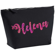 Helena Personalised Name Cotton Canvas Black Make Up with a Holographic Pink Print Accessory Bag Wash Bag Size 14x20cm. The perfect personalised Gift for All occasion, Christmas, Birthdays,