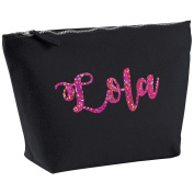 Lola Personalised Name Cotton Canvas Black Make Up with a Holographic Pink Print Accessory Bag Wash Bag Size 14x20cm. The perfect personalised Gift for All occasion, Christmas, Birthdays,
