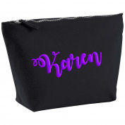 Karen Personalised Name Cotton Canvas Black Make Up Accessory Bag Wash Bag Size 14x20cm. The perfect personalised Gift for All occasion, Christmas, Birthdays,