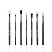 Jessup Brand 7pcs Black/Silver Professional Makeup Brush Set Beauty Eyeshadow Blend Shadow Eyeliner Smoked Sloom Eye Shader Pencil Brush Cosmetics kit