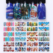 Born Pretty Nail Art Water Sticker Christmas Theme Tree Deer Snowflakes Snowman Cute Patterns Manicure Transfer Decals