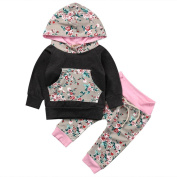 Exteren 2pcs Toddler Infant Baby Boy Girl Floral Hoodie Print Tops+Pants Outfits Clothes Set