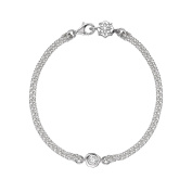 DOWER & HALL Dewdrop 4mm White Topaz Silver Nugget Double Chain Bracelet of 18.5cm
