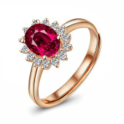 Lorina 18K Rose Gold 925 Sterling Silver Love Guardian Ruby Corundum Adjustable Size Ring for Eternity Promise Engagement Wedding Anniversary