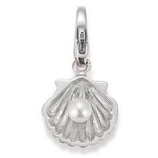 GOOIX GXC068 Ladies Silver Clam Charm with Pearl Charms