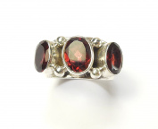 Beautiful Things for Women Oval Cut Garnet Gemstone Stamped 925 Sterling Silver Ring UK Size M US Size 6.25