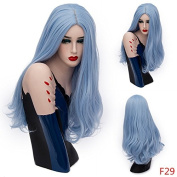 Mufly Synthetic Hair Wigs for Women Light Blue Hair Girls Long Curly Hair Mufly Body Wavy Cosplay Wigs Full Head Wigs for Costume Party Halloween Fancy Dress 70cm