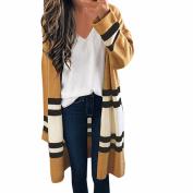 Bluestercool Women Striped Long Sleeve Knitting Cardigan Jacket, Ladies Loose Coat Outwear