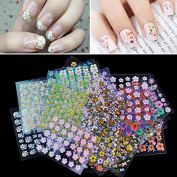 ROKOO 30 pcs Floral Design Manicure Transfer Nail Art Tips Stickers Decals 3D Flowers Beauty Tickers For Nails