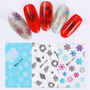 Born Pretty 3 Sheets Nail Art Water Sticker Christmas Theme Tree Snowflakes Snowman Merry Xmas Design Manicure Transfer Decals