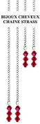 Cold Without Glueing and Clip Fastening. Hair Chain with Red Crystal. 4 per Kit. 2 Long & Short Chains. . with Swarovksi Crystals in Gift Box + 2 Extra . .
