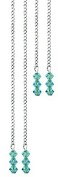 Hair Chain with Turquoise Rhinestones. Cold without Glueing and Clip Fixing. 4 per Kit. 2 Long & Short Chains. . with Swarovksi Crystals in Gift Box + 2 Extra . .