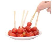 200PCS 8.9cm Bamboo Disposable Fruit Food Forks-Party Supplies Plates Picks Cake Dessert Forks