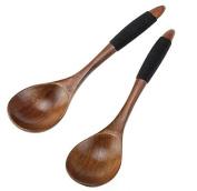 jileSM 2pcs Wooden Spoons Kitchen Soup Spoons