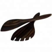 Raquet shaped sonokeling salad server. Hand carved in Indonesia from sustainable wood