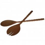Long handled mahogany salad server spoons